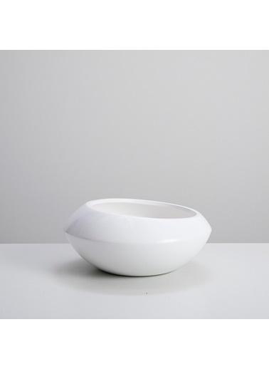 Chakra Zenbak Saksı M 25,5x25,5x10,5 cm Beyaz Beyaz